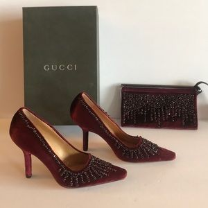 Gucci shoes and matching clutch